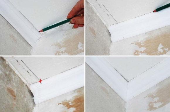 Учимся правильно вырезать угол потолочного плинтуса для стыковки