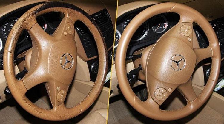 Как восстановить кожу на руле автомобиля методом покраски