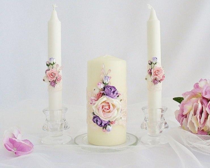 Как сделать декор праздничных свечей на свадьбу