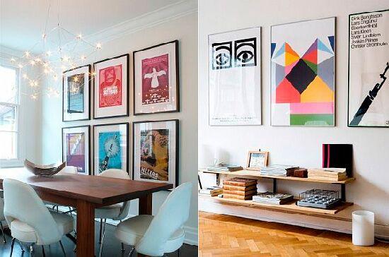 Модные печатные постеры и плакаты в интерьере