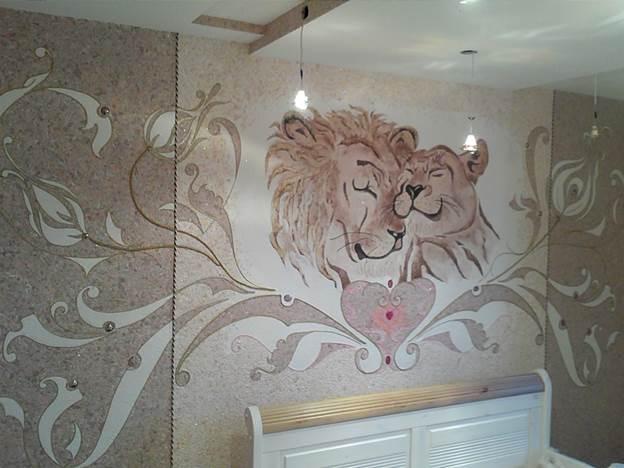 Рисунки жидкими обоями на стене