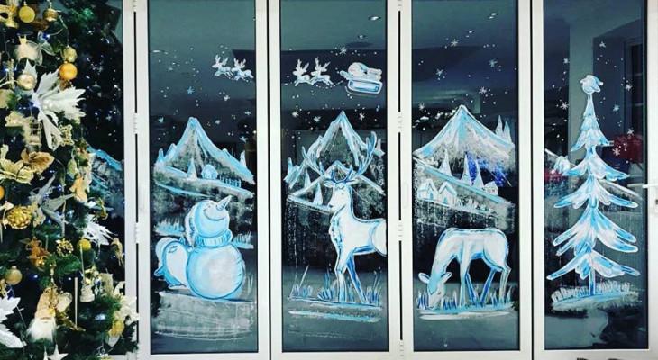 Новогодние рисунки на окнах своими руками