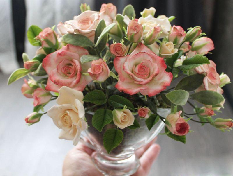 Розы из полимерной глины; пошаговая инструкция для начинающих с фото примерами