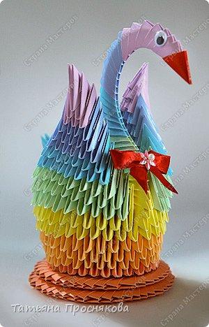 Мастер-класс Поделка изделие Оригами китайское модульное Радужный лебедь Бумага