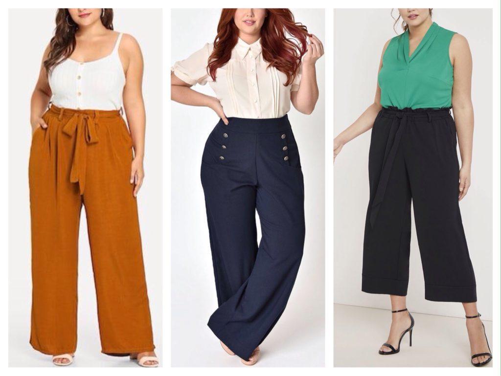 Широкие брюки; составление актуального комплекта