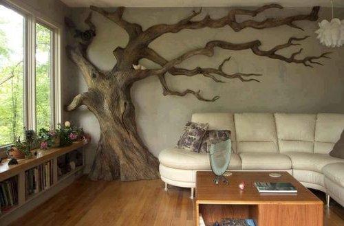 Искусственное дерево в интерьерах жилых помещений. Драпировка труб и других коммуникаций