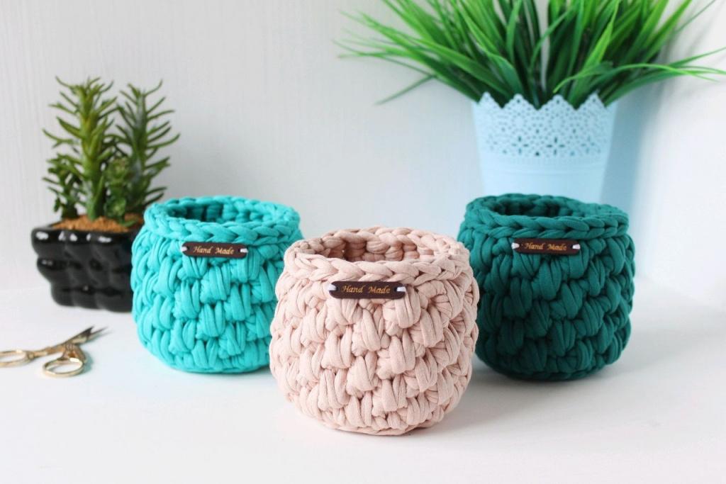 Вязание корзинки из трикотажной пряжи крючком