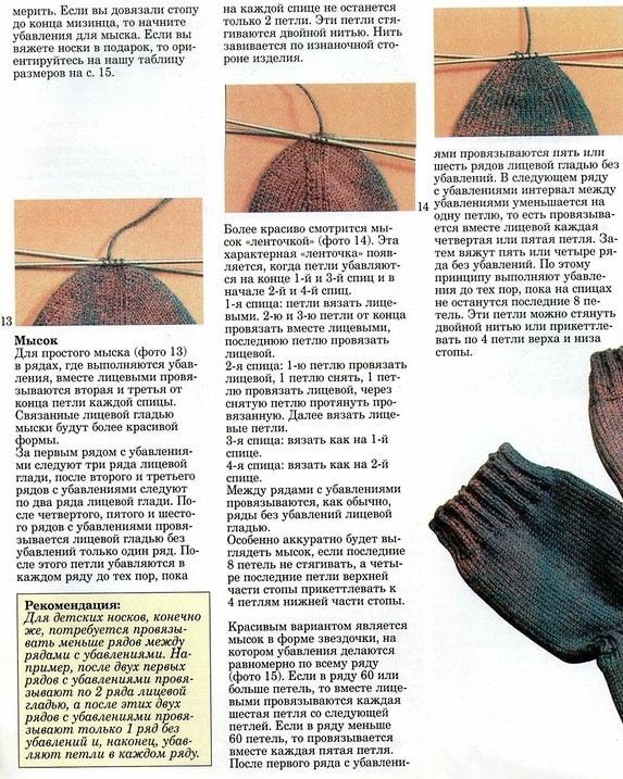 Как вязать носки на 5 спицах: пошагово для начинающих