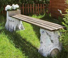 Садовая скамейка; использование в ландшафтном дизайне и инструкция для постройки своими руками (100 фото)