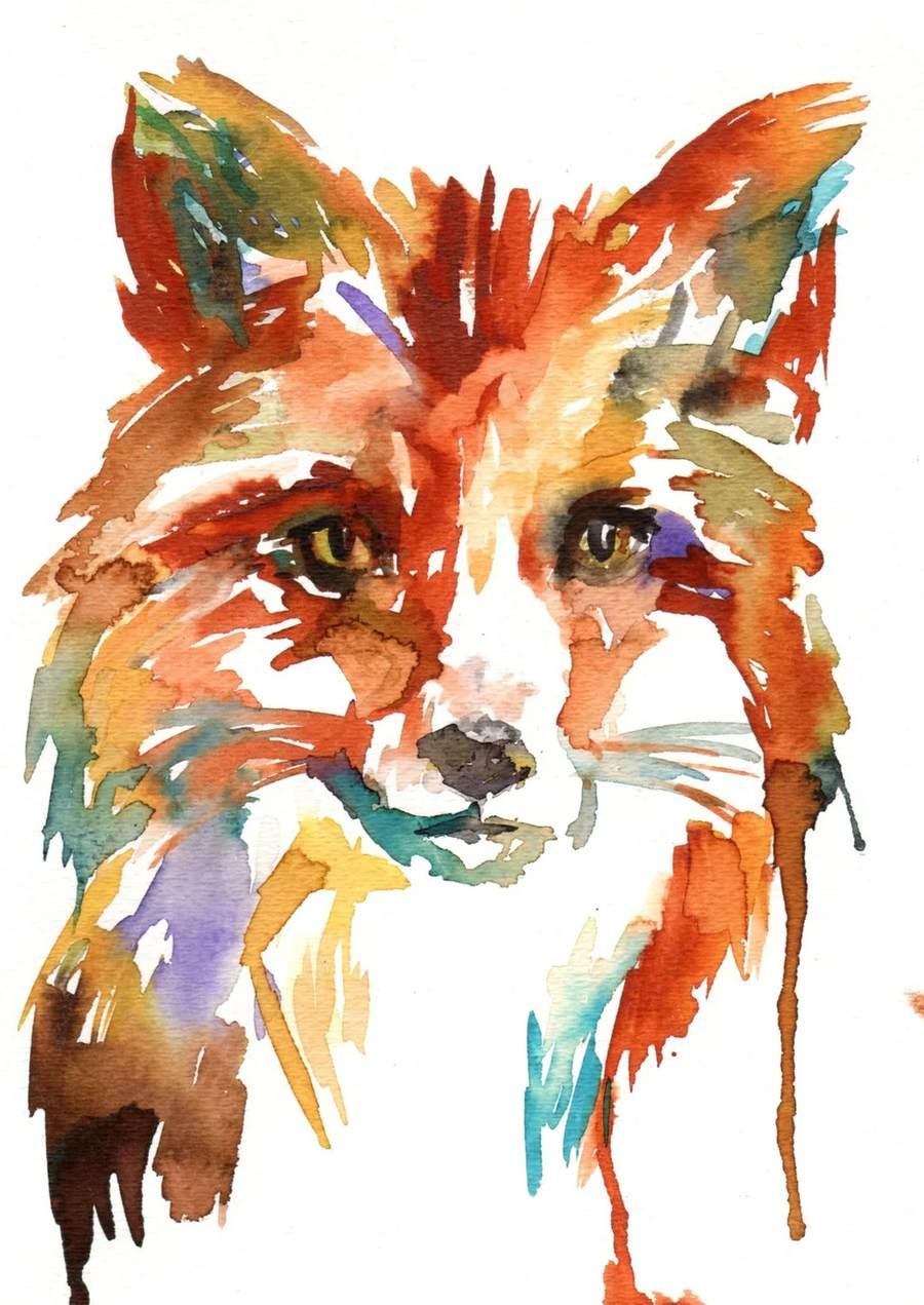 Как нарисовать лису красками поэтапно