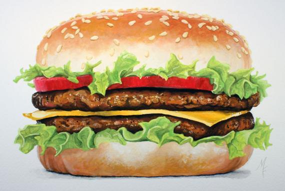 Как нарисовать гамбургер гуашью