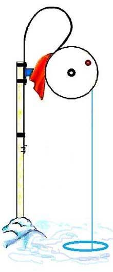 Зимняя жерлица на самодельной деревянной стойке - для ловли щуки