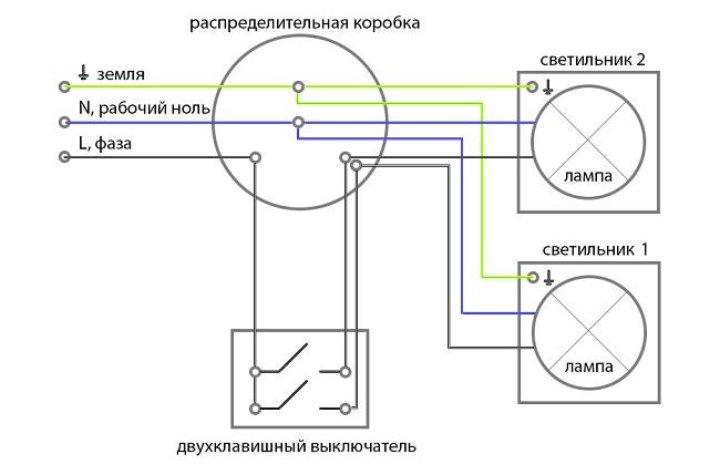 Двухклавишный выключатель и его подключение, схема и фото