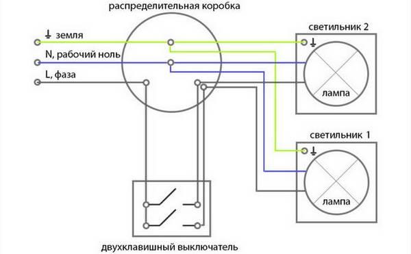 Подробная схема подключения двухклавишного выключателя на две лампочки