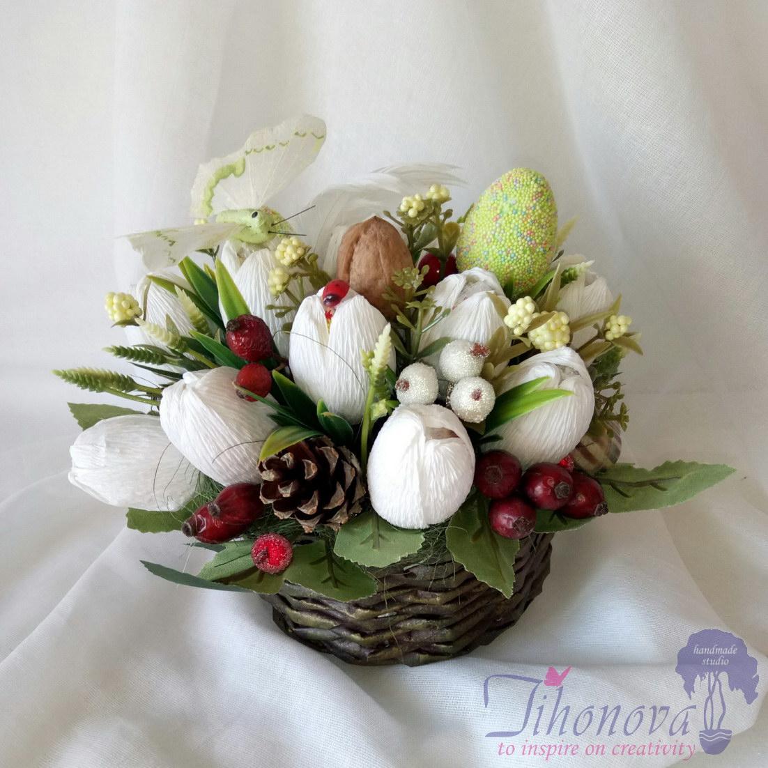 Корзинка с белыми тюльпанами конфетами «Белла»: мастер-класс с фото и видео