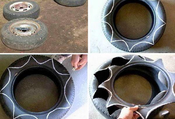 Как сделать клумбу из шин своими руками (фото и видео)