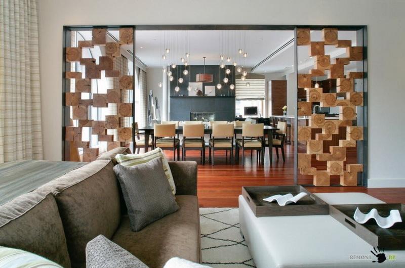 Перегородки из дерева для зонирования пространства в комнате (10 фото)