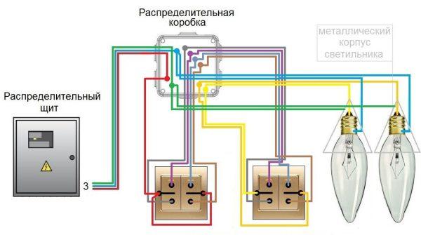 Проходной выключатель с двумя клавишами — схемы подключения