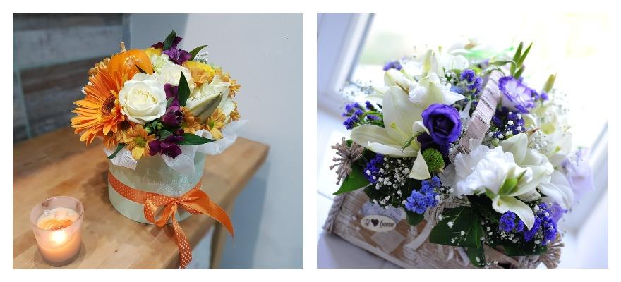 Красивые композиции из цветов в коробке